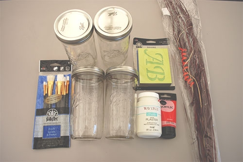 Materials for Making Fall Mason Jar Decoration (jars, brushes, paint, stencils, ornamental grass)