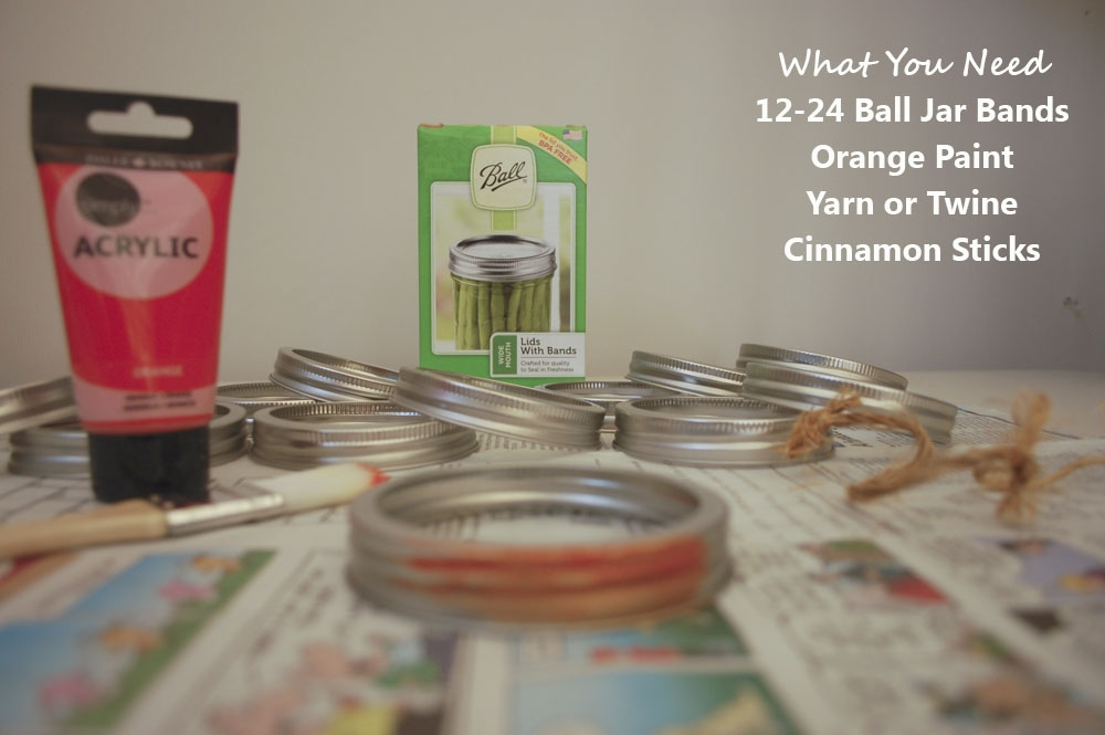 Materials for Making Pumpkin from Jar Rings (paint, bands, twine, cinnamon sticks)