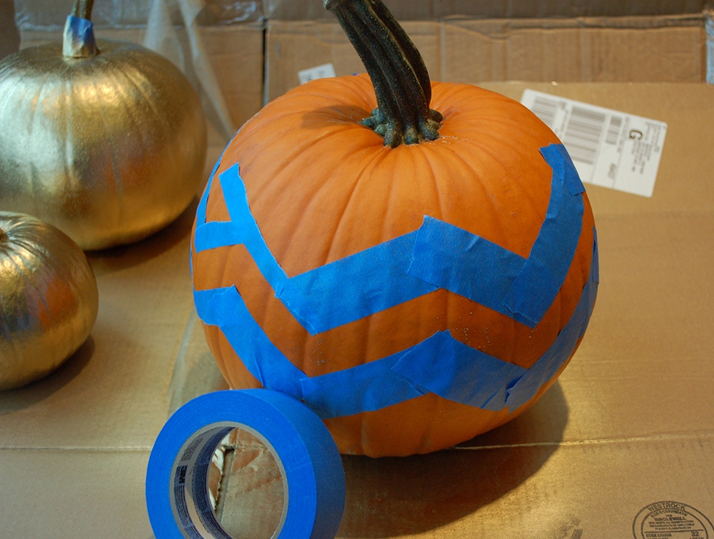 Use Painters Tape to Mask the Pumpkin from Paint
