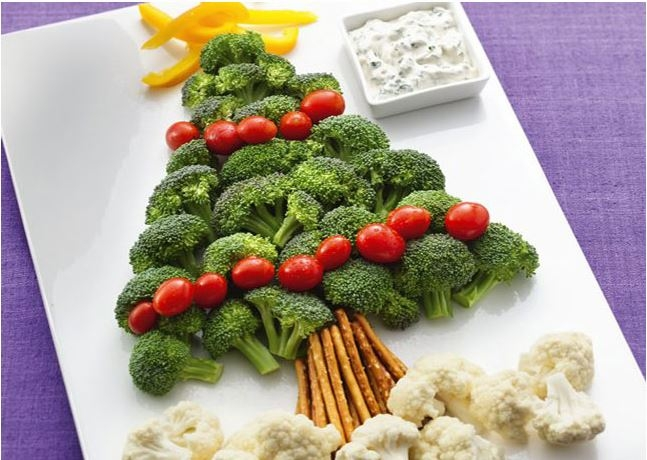 Christmas Tree Made of Cut and Arranged Vegetables