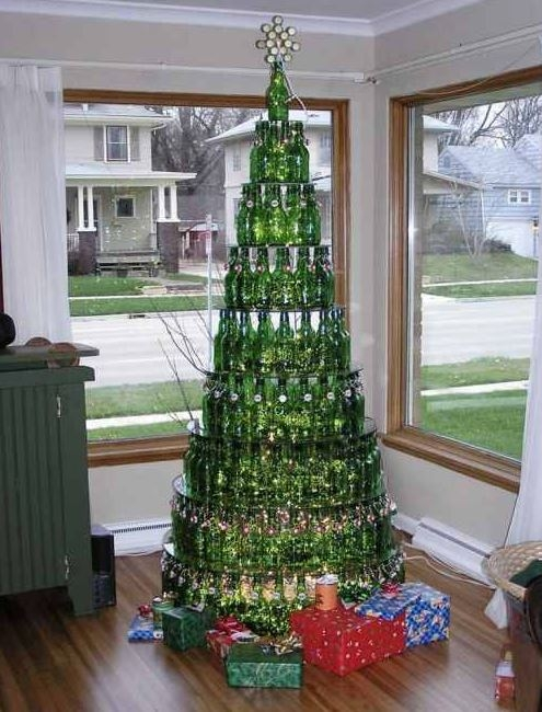 Christmas Tree Made of Green Wine Bottles