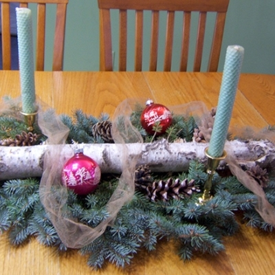 Holiday Centerpiece with Taper Candles, Pinecones, Evergreen Branches, Ribbon, Birch Branch and Christmas Balls