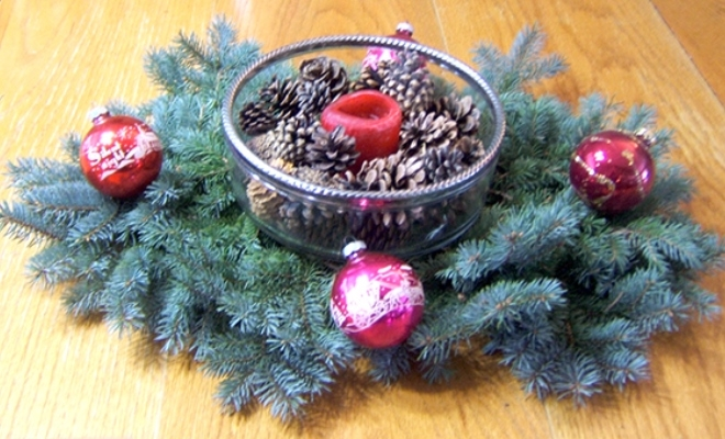 Holiday Centerpiece with Candles, Pinecones, Evergreen Branches and Christmas Ornaments