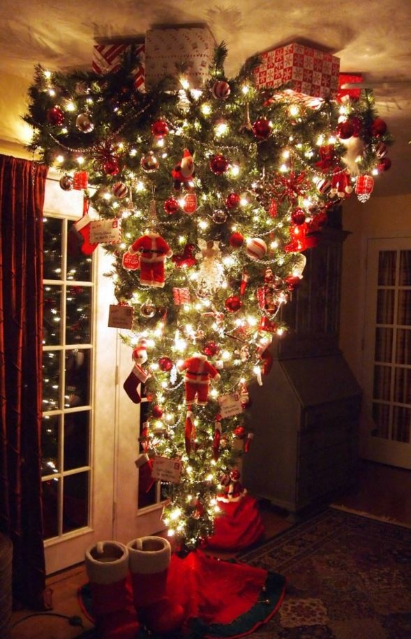 Upside-Down Decorated Christmas Tree
