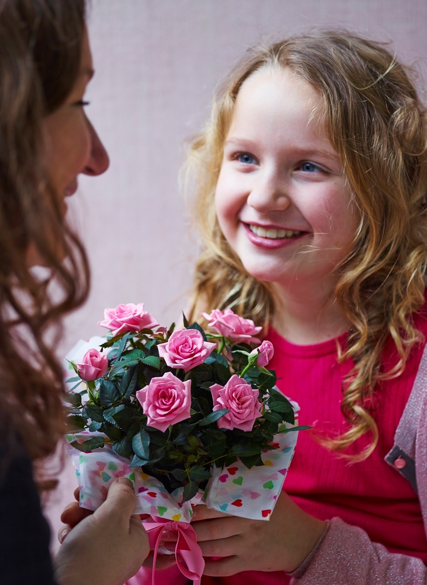 Young Girl Gift a Pink Potted Miniature Rose