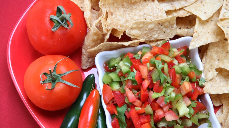 Fresh Salsa with Chips, Tomatoes, Jalapenos