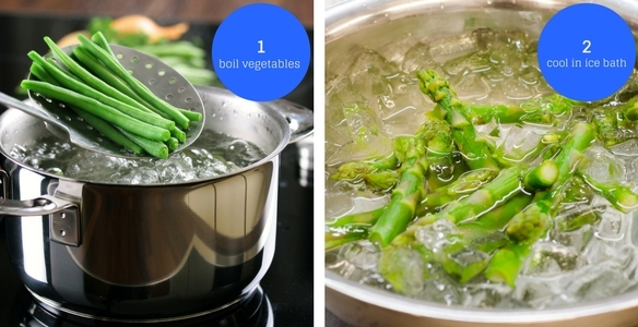 Boil Vegetables - Green Beans over Boiling Pot of Water, Cool in Ice Bath - Asparagus in Water with Ice Cubes