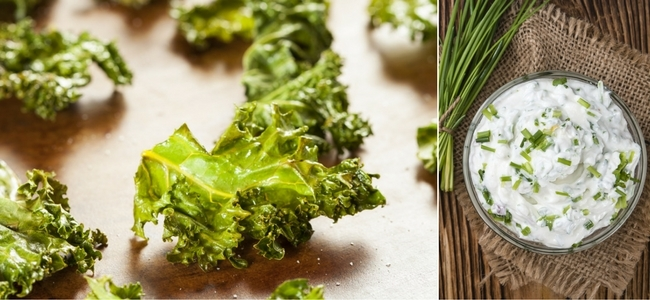 Crispy Kale Chips and Green Onion Dip