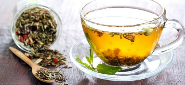 Brewed hot tea with dried herbs