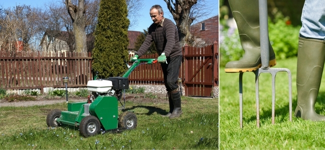 Gas powered lawn aerator and pitch fork aerating lawn.