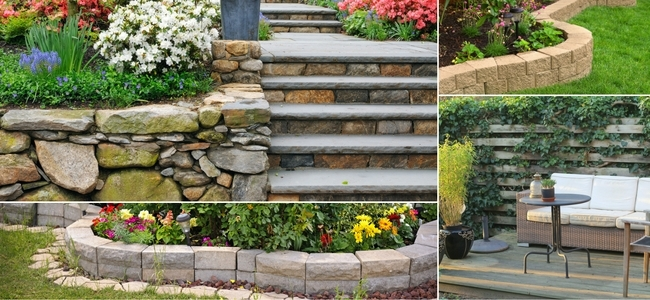 Hardscaping with Walls, stone, wood, natural