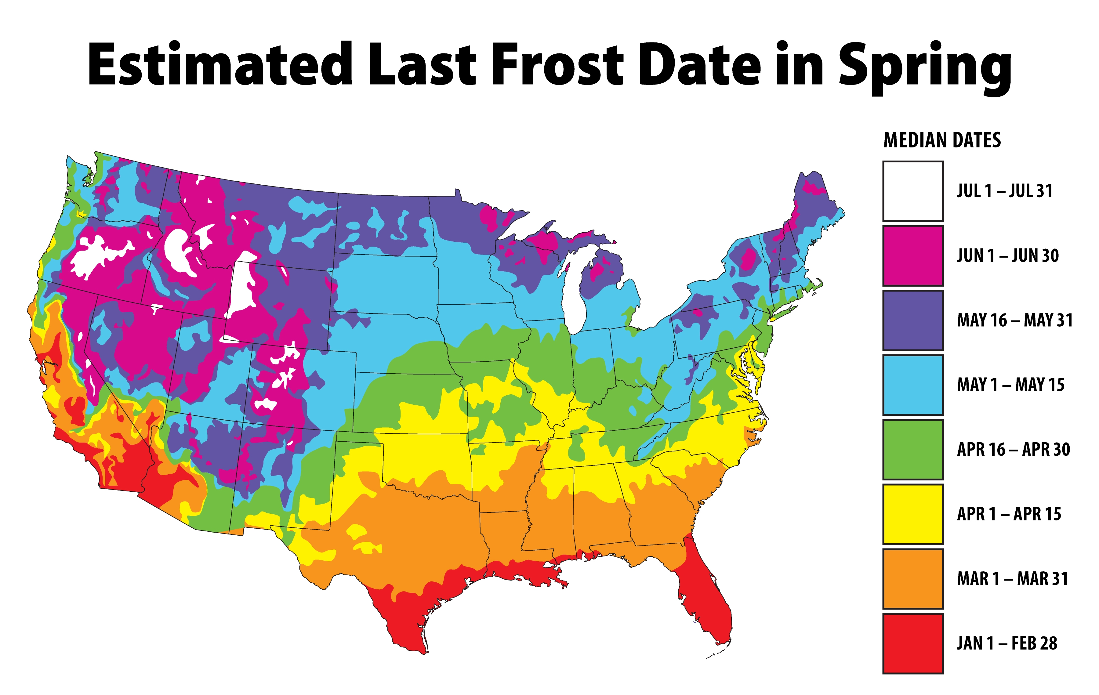 Estimated Last Frost Date in Spring