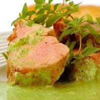 Herb Marinade on Meat Dish