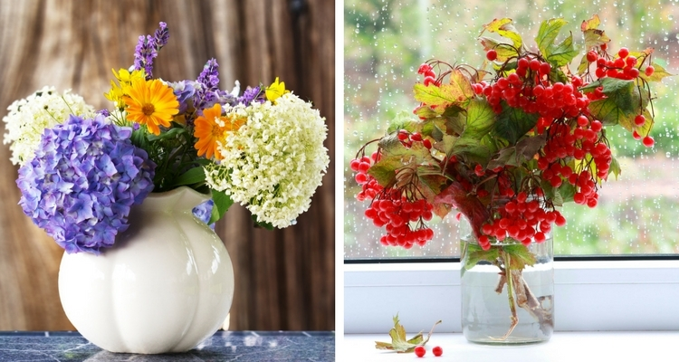 Bouquet of Flowers from Garden & Red Viburnum Berries in Vase