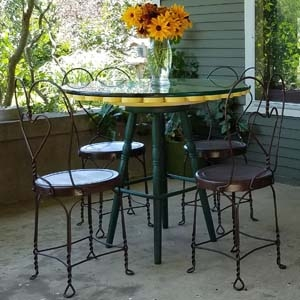 Ice Cream Parlor Table and Chairs with Rudbeckia in Vase