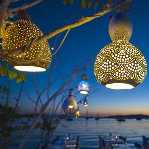 Decorative Craft, Hanging Dried Gourd Lights