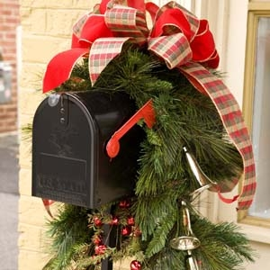 Mailbox Decorated for Christmas with Swag