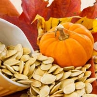 Sea Salt and Garlic Roasted Pumpkin Seeds with Mini Pumpkin and Fall Leaves
