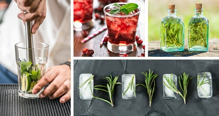 Herbal Cocktails - Muddling, Ice Cubes, Garnish, Infusions