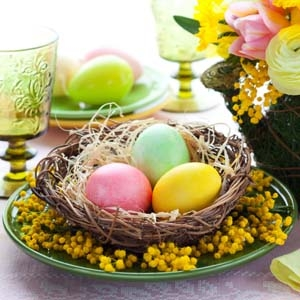 Easter Table Setting with Nest and Colored Eggs