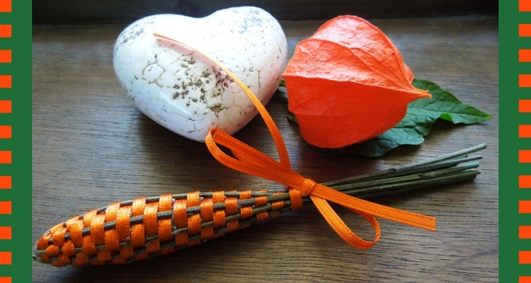 Lavender Wand with Orange Ribbon, Chinese Lantern, Heart-Shaped Stone