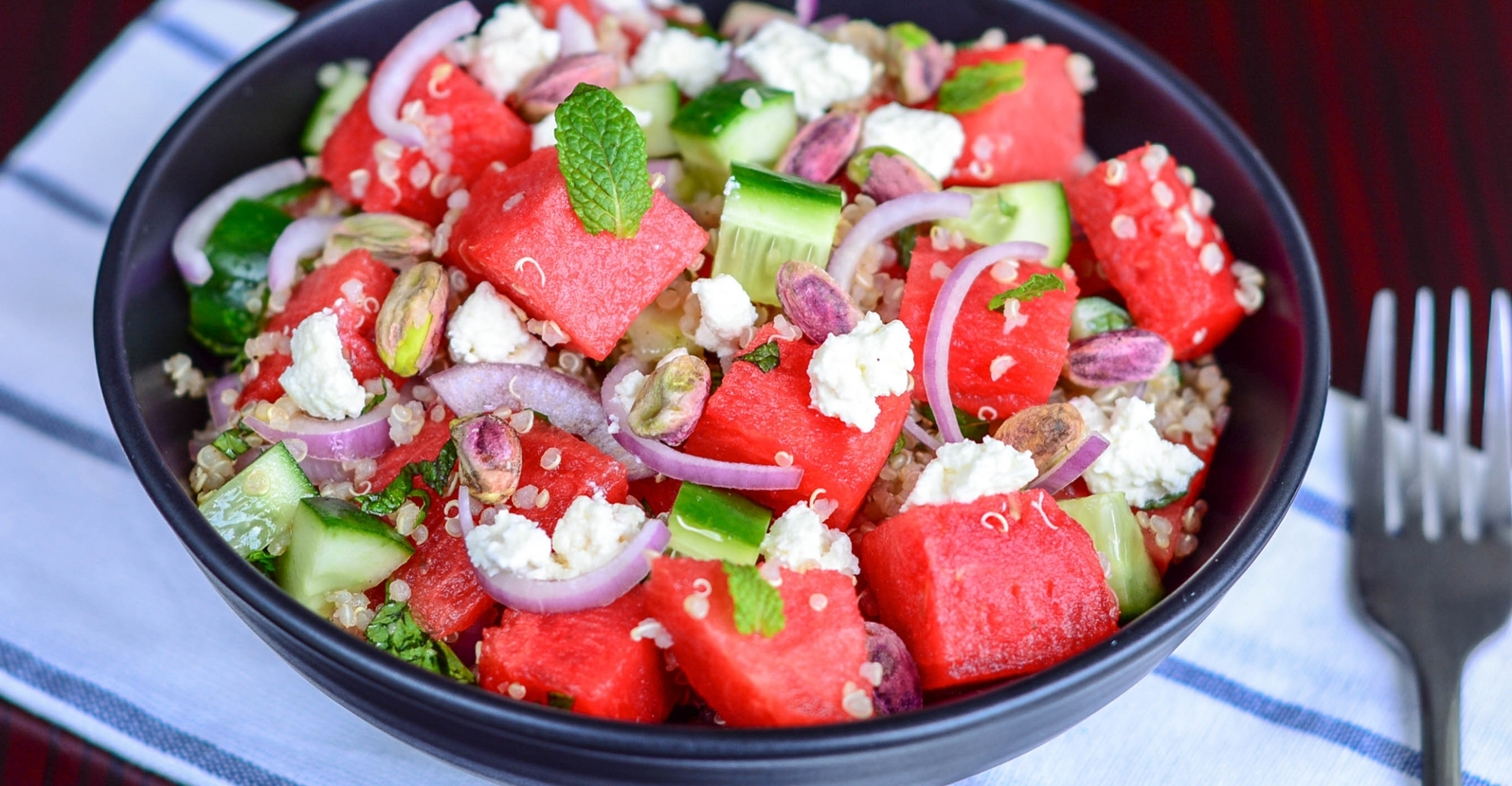 The Easiest Watermelon, Feta and Quinoa Salad