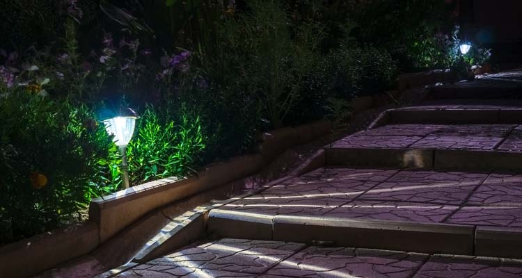 Solar Garden Lights Along Walkway, Stairs