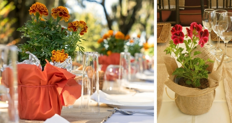 flower pot centerpieces wrapped in fabric, paper