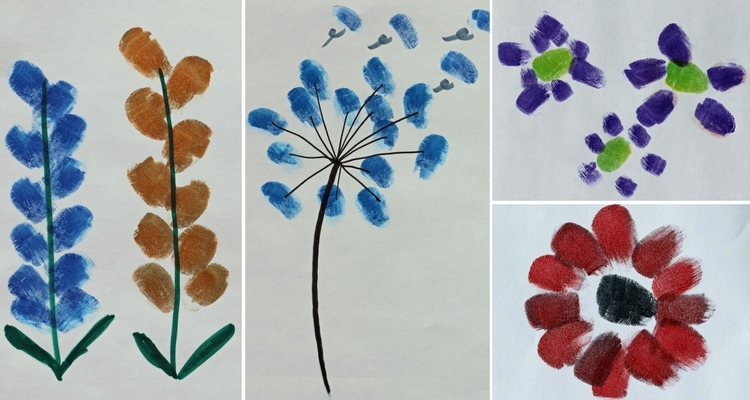 Fingerprint Flowers - Lupine, Snapdragon, Allium, Dandelion, Daisies, Poppy
