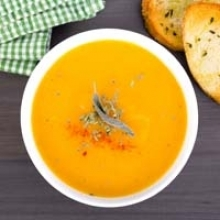 Cream of Carrot and Turnip Soup with Maple Syrup