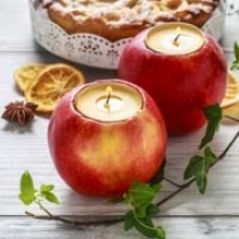 DIY Centerpiece: Apple Candleholders